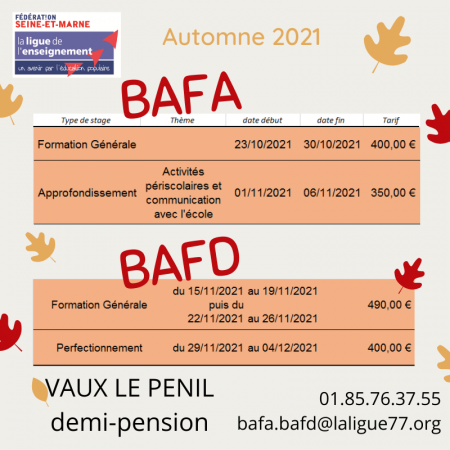 2021 automne bafa bafd